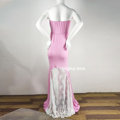 Long African Dress For Pregnant Women Lace Maternity Dresses For Photo Shoot Pink Sexy Dress For Sex Clothes For Pregnant Women