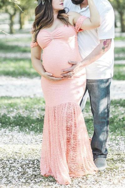 Pregnant Women Lace Off Shoulder Long Mermaid Maternity Dress For Photo Shoot