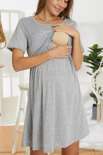 2021 New Arrival Spring and Summer Trendy Solid Short-sleeve Nursing Dress