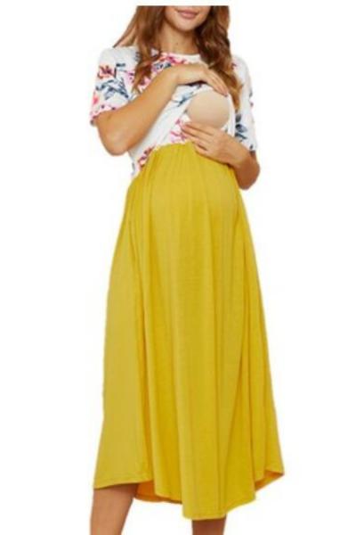 2021 New ArrivalMaternity Round collar Color Block Color block Yellow Midi H Short-sleeve Nursing Dress