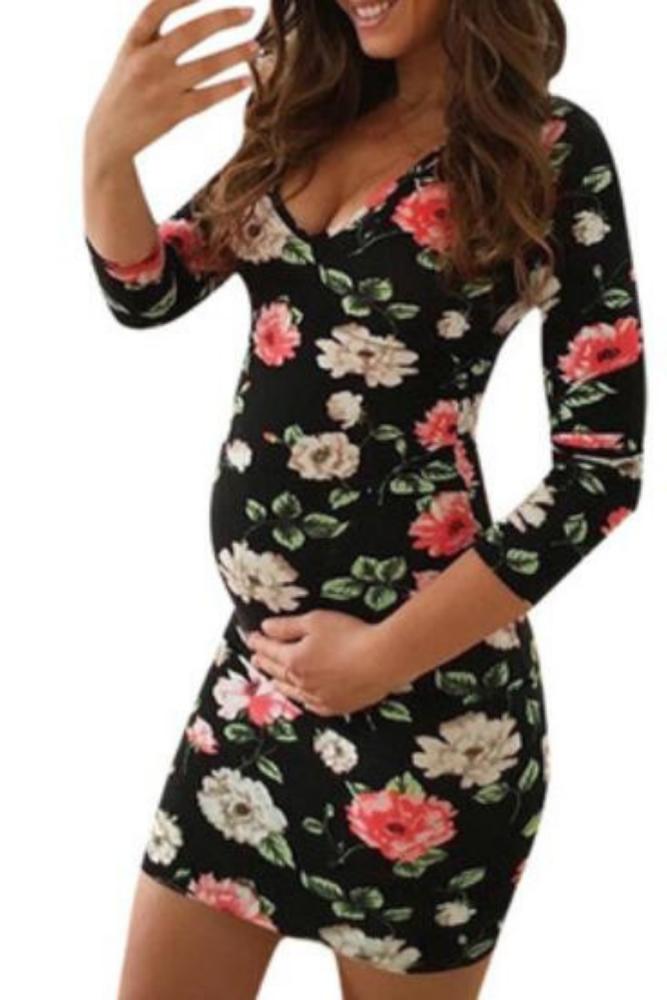 Women Maternity Print Round Neck Long Sleeve Leisure Maternity Dress