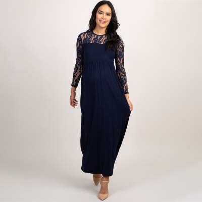 New Fashion Explosions Solid Color Pregnant Women Lace Hollow Long Sleeve Dress Long Dresses