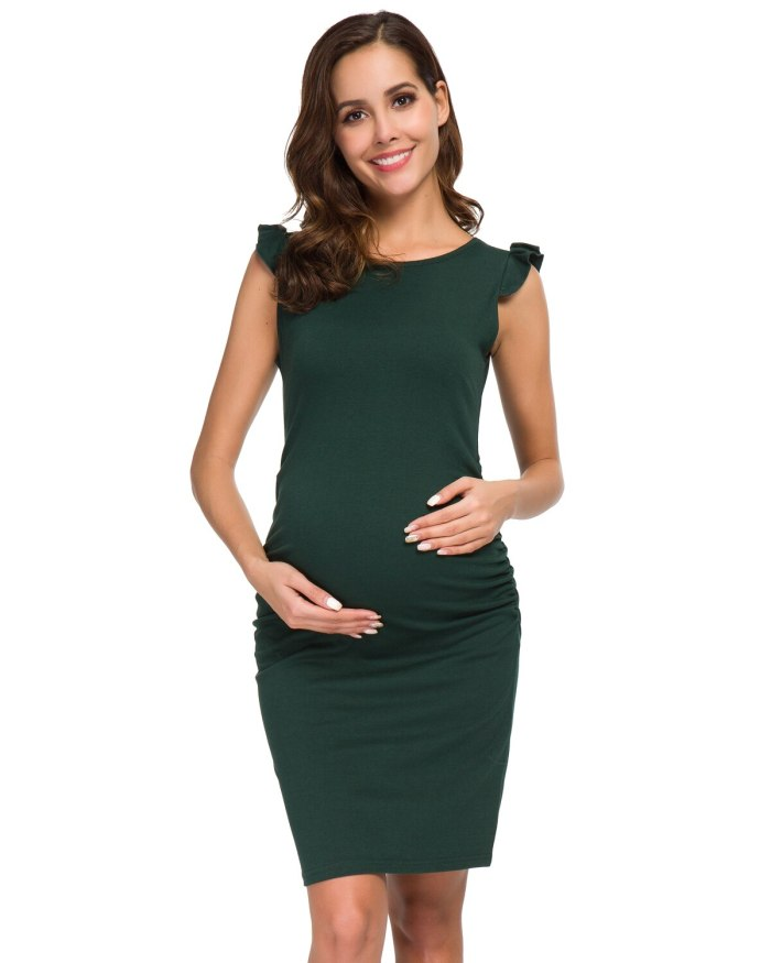 Maternity Dresses Flying Sleeve Wrap Ruched Side Stretchy Bodycon Dress Pregnancy Elegant Dress for Daily Wearing Or Baby Shower
