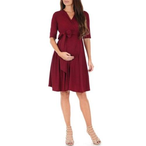 Women's Faux Wrap Maternity Dress with Adjustable Belt V Neck Breastfeeding Pregnancy Dresses Casual Nursing Dress