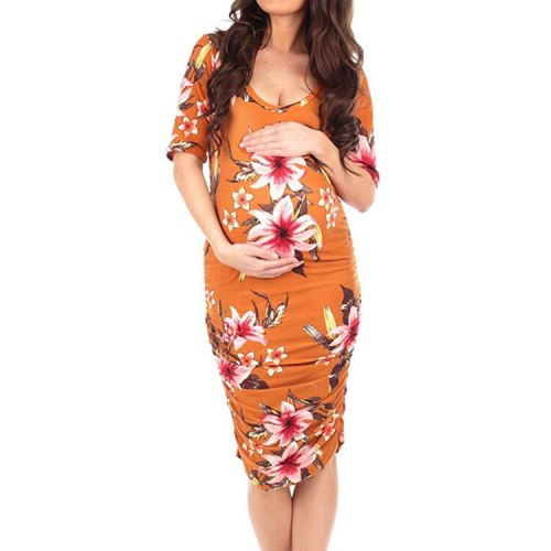Clothes For Pregnant Women Summer New Fashion Women's Maternity Pregnant Short Sleeve O-neck Casual Comfy Floral Print Dresses