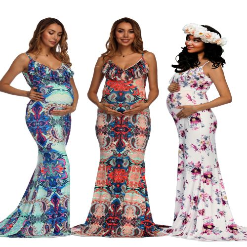 Maternity Dress Photography Prop V-neck Big Maternity Maxi Dress For Photo Shoot Maternity Gown For Photo Shooting