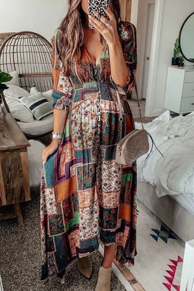 2021 Bohemian V-neck Print Plus Size Sexy Maternity Dress for Women