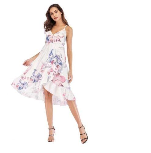 Lotus Leaf Summer Deep V Sling Irregular Printing Loose Pregnant Women Maternity Dress