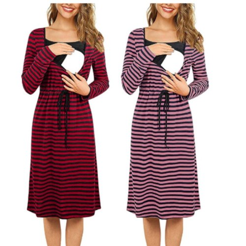 Maternity Long Sleeve Print Striped Breast Feeding Dresses For Pregnant Women pregnancy Dresses
