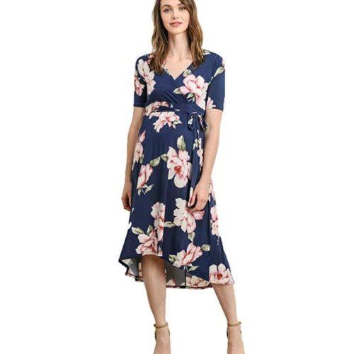 Maternity Gown 2021 Summer New European and American Women's V-neck Printed Belt Long Skirt Maternity Dress
