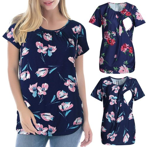 New Summer Fashion Maternity T-shirt Women Flare Sleeve Floral Print Clothes Pregnant Nursing Tops T-shirt For Breastfeeding