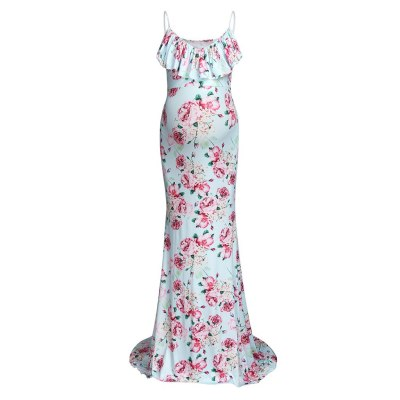 New summer 2021 printed V-neck Flower dress with suspenders Photographing Maternity dresses pregnant woman dress