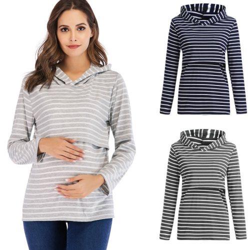 Women's Pregnant Blouse Nursing Maternity Long Sleeves Hooded Breastfeeding Hoodie Sweatshirts Casual Spring Autumn Blouse Shirt