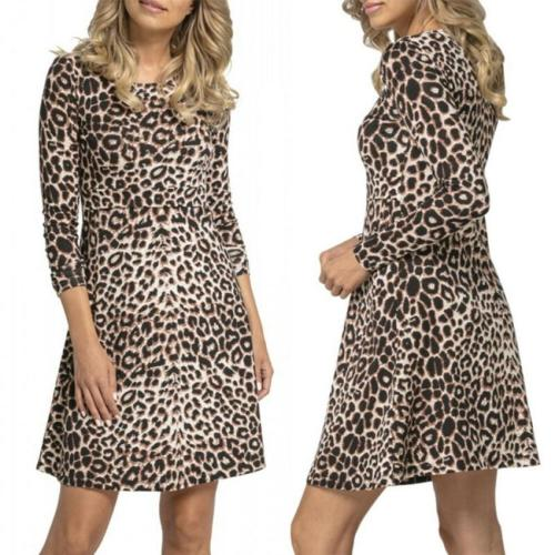 Maternity Dress Leopard Print Pregnant Women Breastfeeding Mini Dress Nursing Long Sleeve Shirt-dress A-Line Casual Dresses