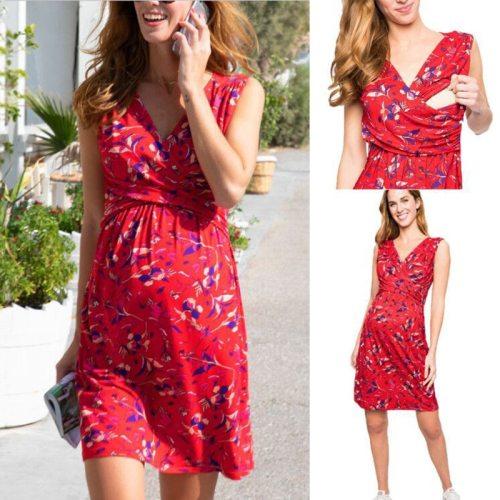 2021 Summer V-neck Long Maternity Dresses Pregnant Women Clothes Flowers Print Pregnancy Dress New Fashion Maternity Clothing