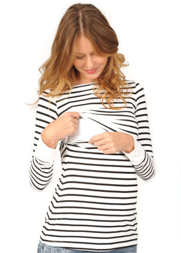 New winter Women Maternity Blouse Nursing Baby Maternity Long Sleeved Stripe Tops Blouse Clothes For Pregnant Women