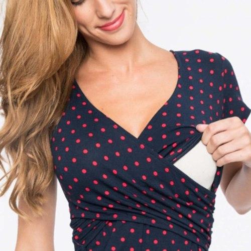 Women's Maternity Breastfeeding Dresses V-Neck Polka Dot Summer Sleeveless Dress for Pregnant Women Printing Nursing Dress