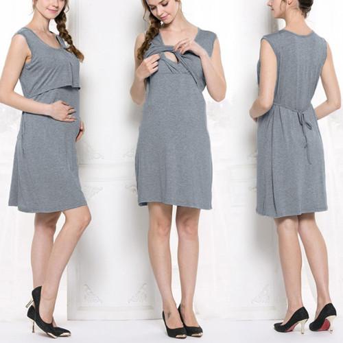 Maternity Pajamas Nightgown Breastfeeding Dress Childbirth Nursing Pajamas Pregnant Women O-Neck Sleeveless Nightwear Sleepwear