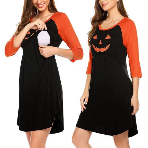 Halloween Maternity 3/4 Sleeve Pumpkin Printed Nursing Dress For Breastfeeding Clothes Maternity Clothes