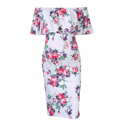 Maternity Women Dress Pregnancy Summer Print Flower Dresses Mama Cotton Clothes Pregnant Womens Casual Self-cultivation Clothing