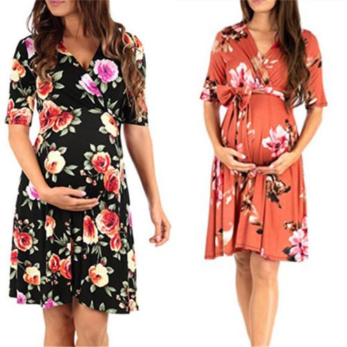 Women High-Low Surplice Wrap With Waist Belt Maternity Dress Adjustable V Neck Nursing Dress Breastfeeding Pregnant Clothes