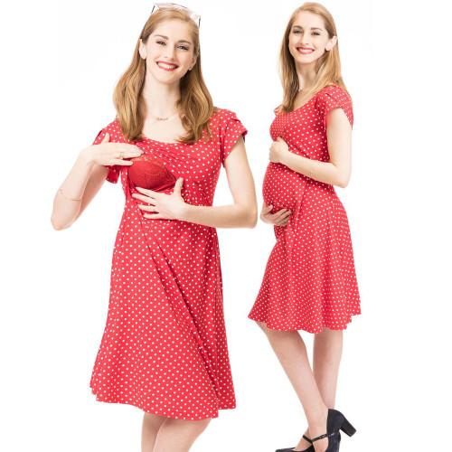 Maternity Dresses Pregnancy Clothes Temperament Women's Pregnant Nursing Baby Maternity Joint Polka Dot Printing Outwear Dress