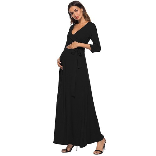 Deep V-Neck Long Sleeve Dresses For Pregnant Women With Waistband Long Pregnancy Dress Photoshoot Evening Dress Gown