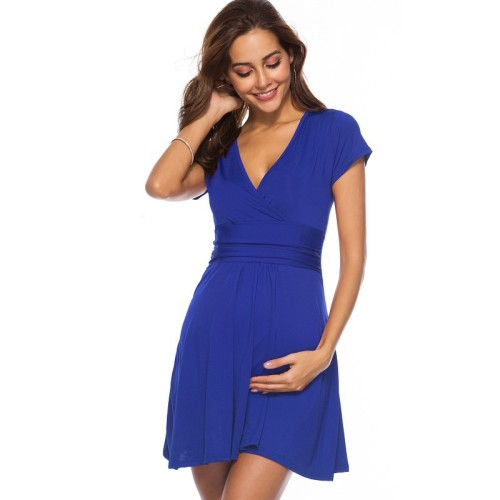 Maternity Wear 2021Pregnancy Clothes Pregnant Women Ladies Elegant Formal Evening Dress Soft Dress 4 Colors