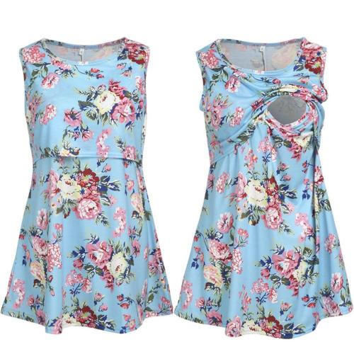 Women Summer Breast-feeding Vests 2021 New Fashion Maternity Flowers Print Tops Clothes Casual T-Shirts