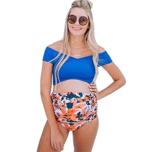 2021 New Maternity Swimsuit Pure Color Beach Sexy Triangular Split Plus Size 2 piece Pregnancy Swimsuit Cover Up Bikini Set