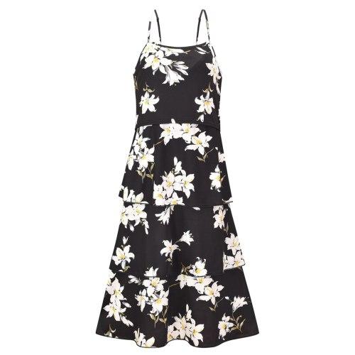 2021 European and American new product hot breastfeeding ruffled sling flower print dress