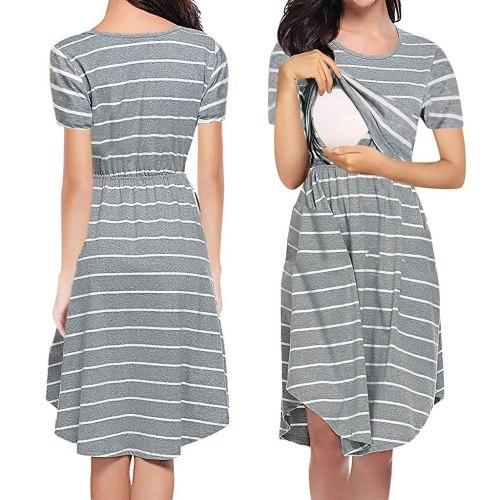 Womens Striped Maternity Dresses Short Sleeve Print Nursing Dress Summer Breastfeeding Clothes Платье Для Беременных 2021