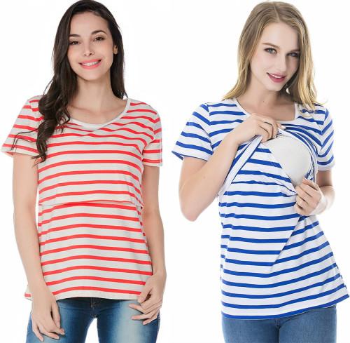 2021 new hot style multifunctional pregnant women striped short-sleeved breastfeeding breastfeeding top T-shirt