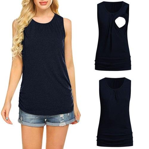 Women's Maternity Sleeveless Nursing Tops Solid Tops Nursing Pregnant Ladies Vest Clothes Casual Summer Pregnancy Shirt Tops