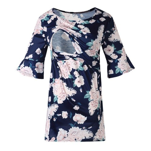 2021 Fashion Women Maternity Short Sleeve Shirt Tops Flare Sleeve Floral Print Nursing Tops For Breastfeeding Maternity Clothes#