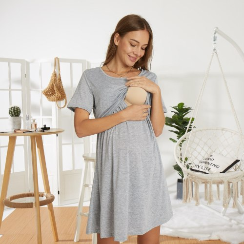 2021 Maternity Dresses Pregnancy Nursing Summer Casual O-neck Short Sleeve Breastfeeding Fashion Dress Pregnant Women Vestidos
