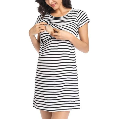 Pregnant Maternity Nursing Breastfeeding Women Summer Dress Maternity Short Sleeve Striped Print Nursing Dress Robe Femme