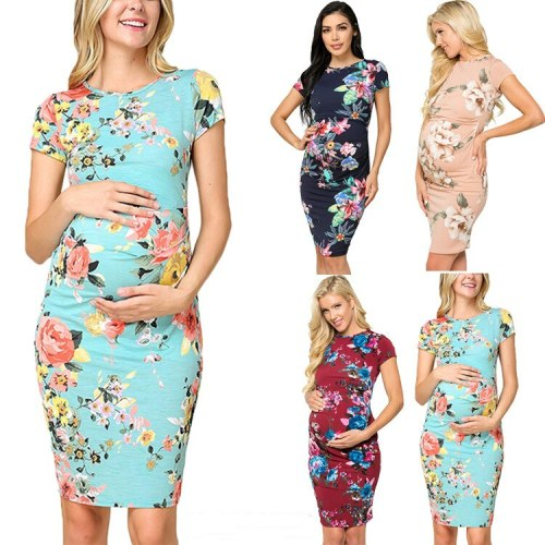 2021 New Women's Round Neck Short Sleeve Pleated Printed Maternity Dress
