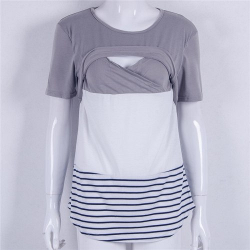 Trendy Women Breastfeeding Nursing round neck short sleeve T-shirts cotton pullover Striped Lace Tops one pieces