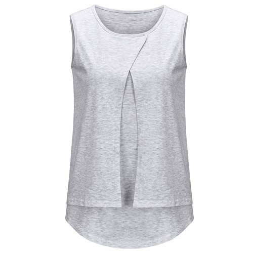 2021 new European and American hot style multifunctional solid color sleeveless breastfeeding top T-shirt for pregnant women