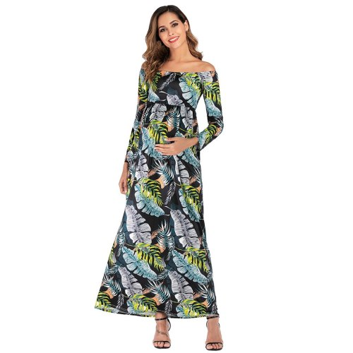 New Summer Maternity dresses nursing breastfeeding Women's Pregnanty Off Shoulder Long Sleeve Leaves Print Long Dress vestido