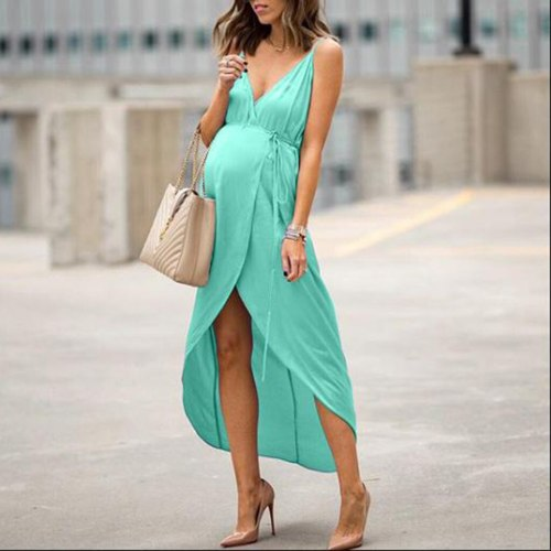 Women Maternity Dresses Ruffles Long Sleeve V-Neck Solid Pregnant Dress Summer Irregularity Pregnancy Dress Vestido Mujer