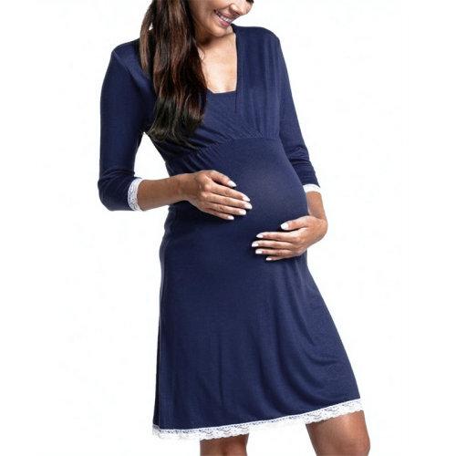 2021 Pregnancy Pajamas Sleepwear Nursing Pregnant Pijamas Premama Breastfeeding Nightgown Lace Maternity Nursing Dress Nightwear