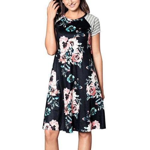 Summer Flower Printed Sleepwear Casual Homedress Women Round Neck Short-sleeve Loose Nightdress