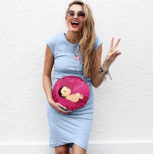 New 2021 Women Summer Maternity Dress Sleeveless Pregnancy Dress Cartoon Baby Print Dress Creative Pregnant Women Dresses