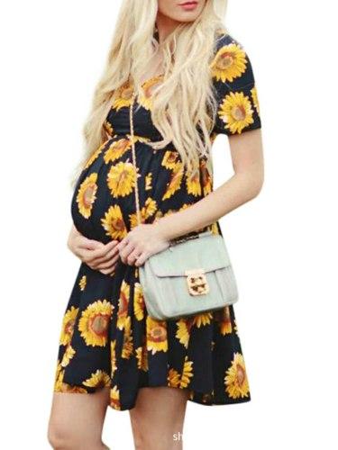 Maternity Dress Summer Casual Pregnancy Dress Short Sleeve Sunflower Pregnant Women Dress