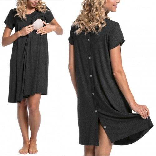 Maternity Nightwear Dress Women Pregnant Short Sleeve Solid Nursing Baby Nightdress Breastfeeding Dress Maternity Pajama Clothes