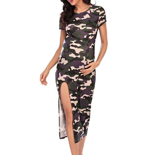 Plus Size Dress Round-neck Short-sleeved Camouflage Maternity Dress For Women robe femme Pregnancy Dress
