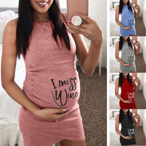 New Pregnant Dress Printed I MISS WINE Comfortable and loose Sleeveless Maternity Dress Women