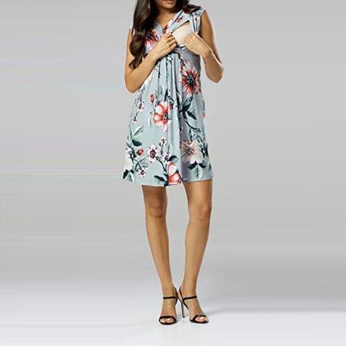 Summer Fashion Sleeveless Flower print Maternity dress Nursing Pregnancy Casual Mother Nursing Dress Top Breastfeeding Dress
